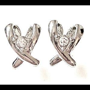 Silver Dainty Stud earrings vintage